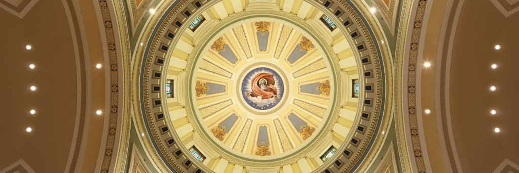 view into a church dome from below after restoration