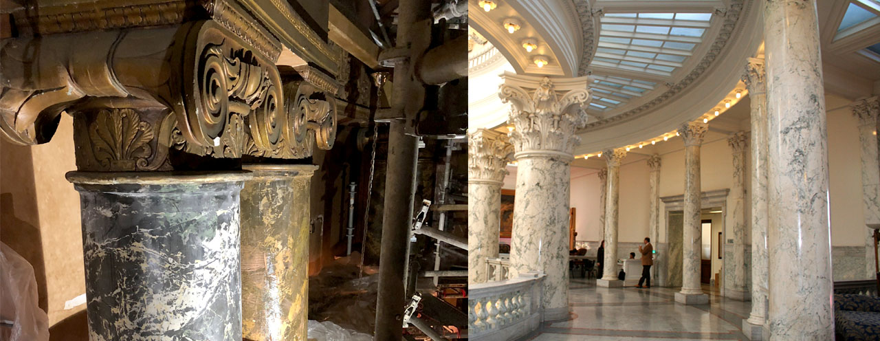scagliola columns in government building before and after restoration