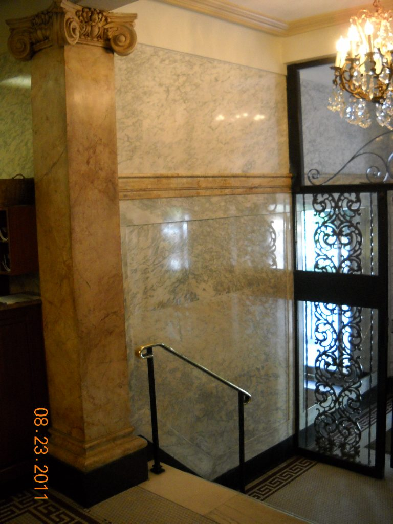 ornamental plaster and marble in lobby