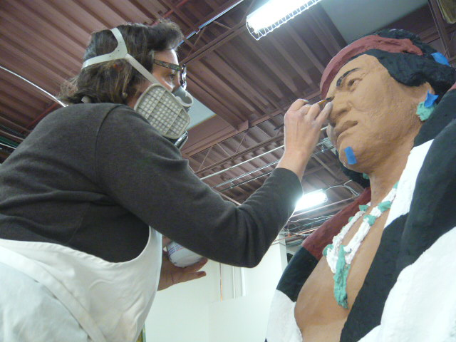 plaster finishing of native American sculpture