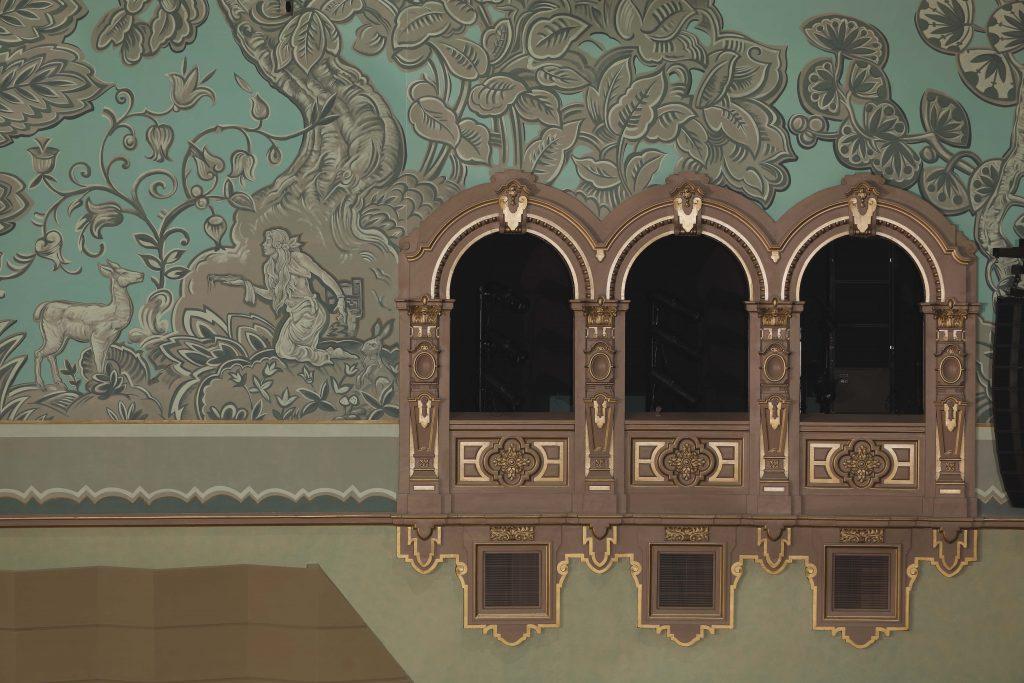 theater interior after plaster restoration