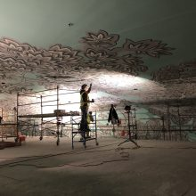 ceiling mural application on acoustic plaster