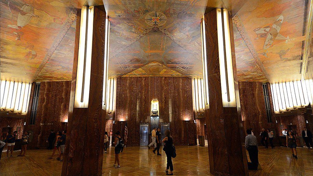 Chrysler building lobby mural after restoration
