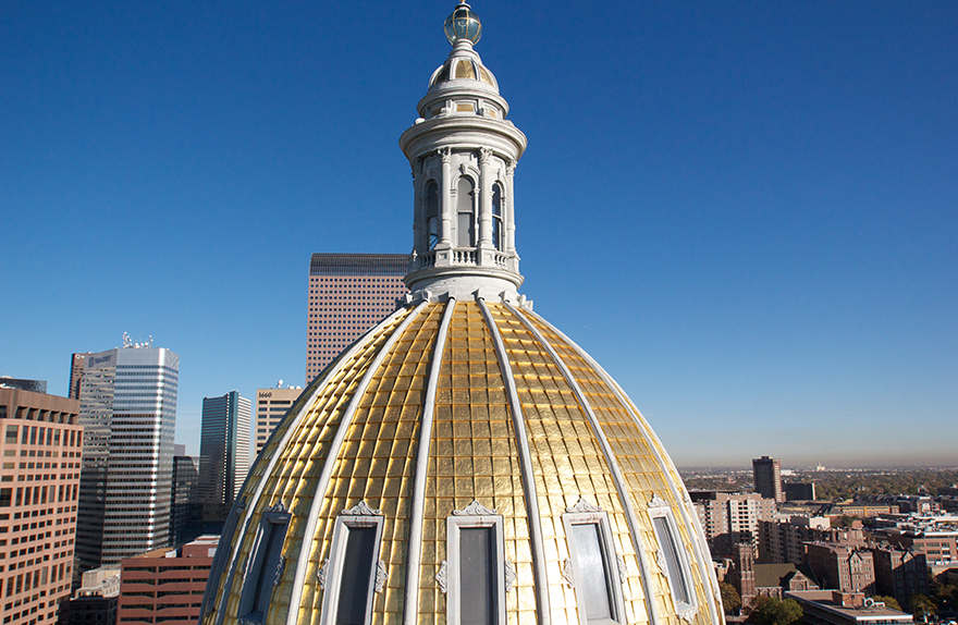 Colorado state capitol gilded dome after restoration