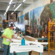 Mural painting in lobby