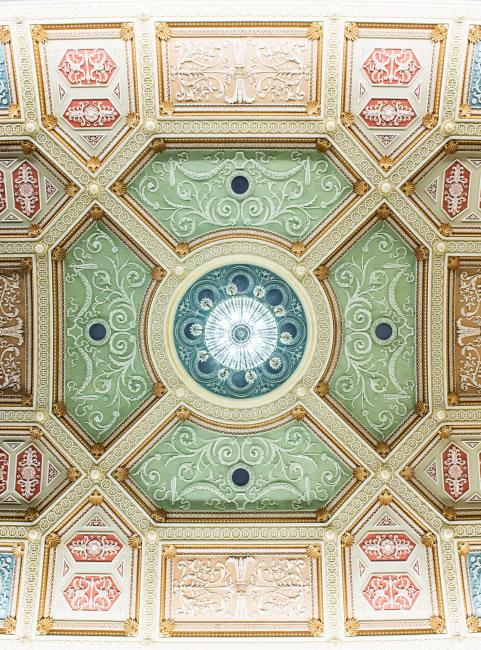 ornamental ceiling detail after restoration