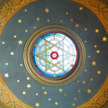 painted plaster in dome after conservation