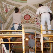 plaster ceiling restoration and inpainting