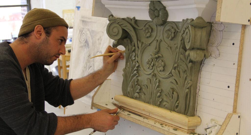 plaster pilaster capitals restoration