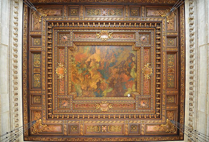 public catalog room ceiling after restoration