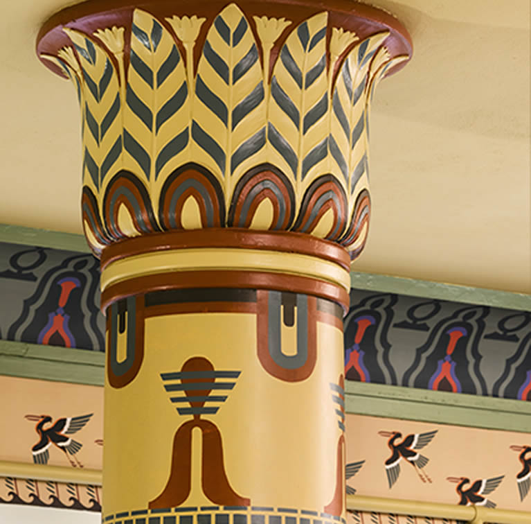 restored plaster column with decorative painting
