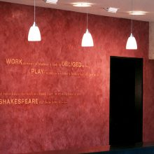 Venetian plaster with quotes by Samuel Clemens