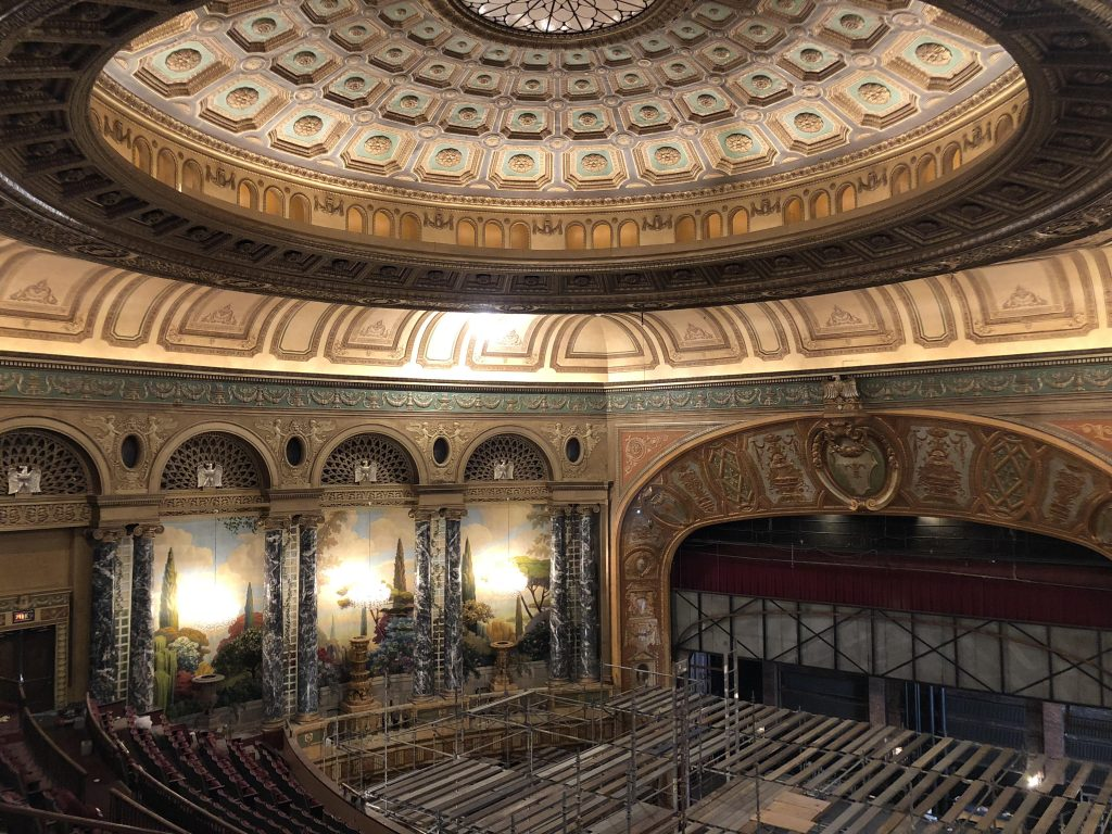 theatre auditorium after plaster restoration