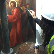 mural restoration at the cathedral of the Holy Cross