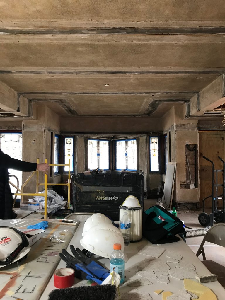 during plaster wall and ceiling restoration