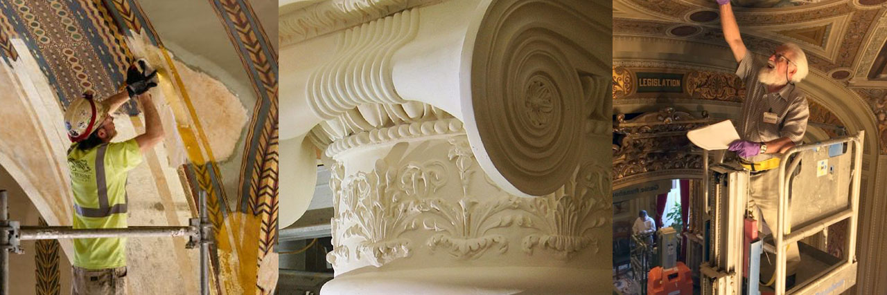 Plaster conservation utilizes historic preservation techniques to avoid further deterioration, failure, collaps, and complete reconstruction.
