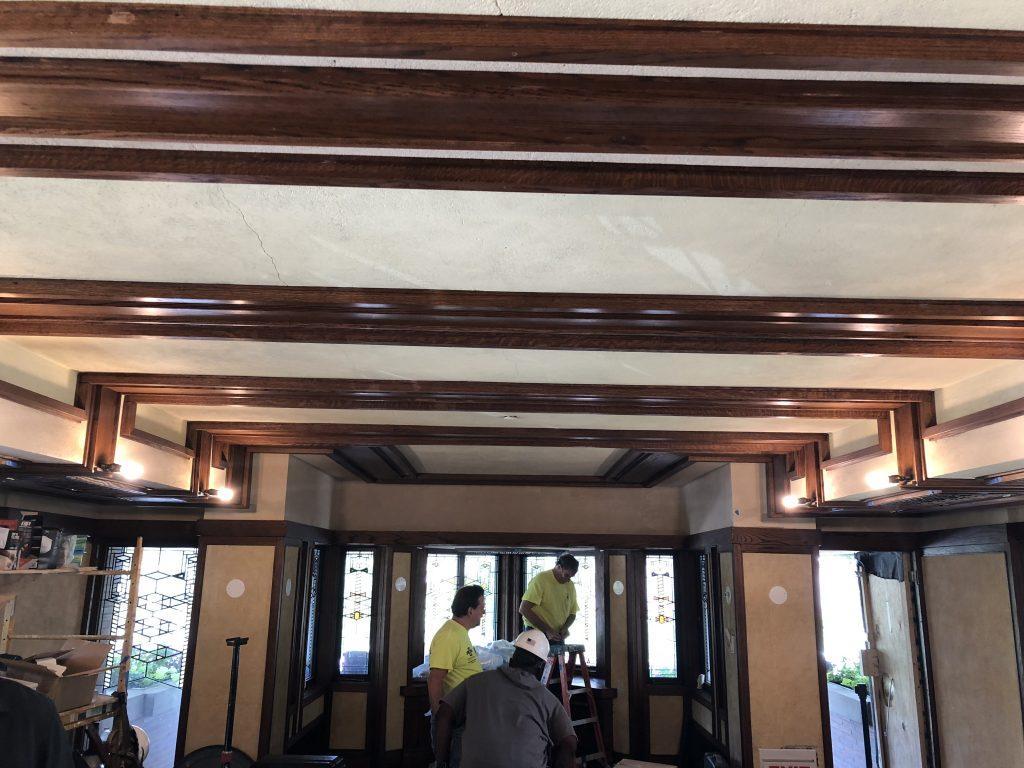 plaster restoration at Frank Lloyd Wright building