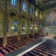 church interior after historic restoration