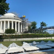 Crewmembers set up workspaces around the Jefferson Memorial to clean and restore it. (Victoria Sanchez/ABC7)