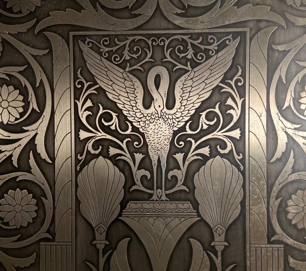 Metal details on door