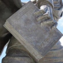 detail of aging patina on bronze statue